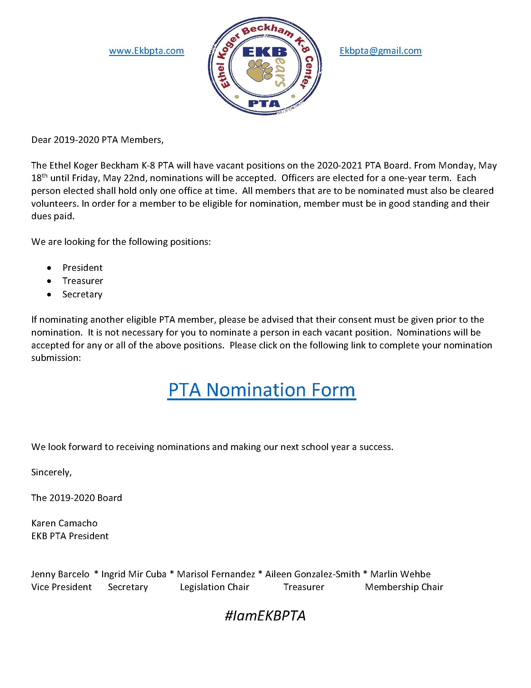 PTA Nomination Announcement
