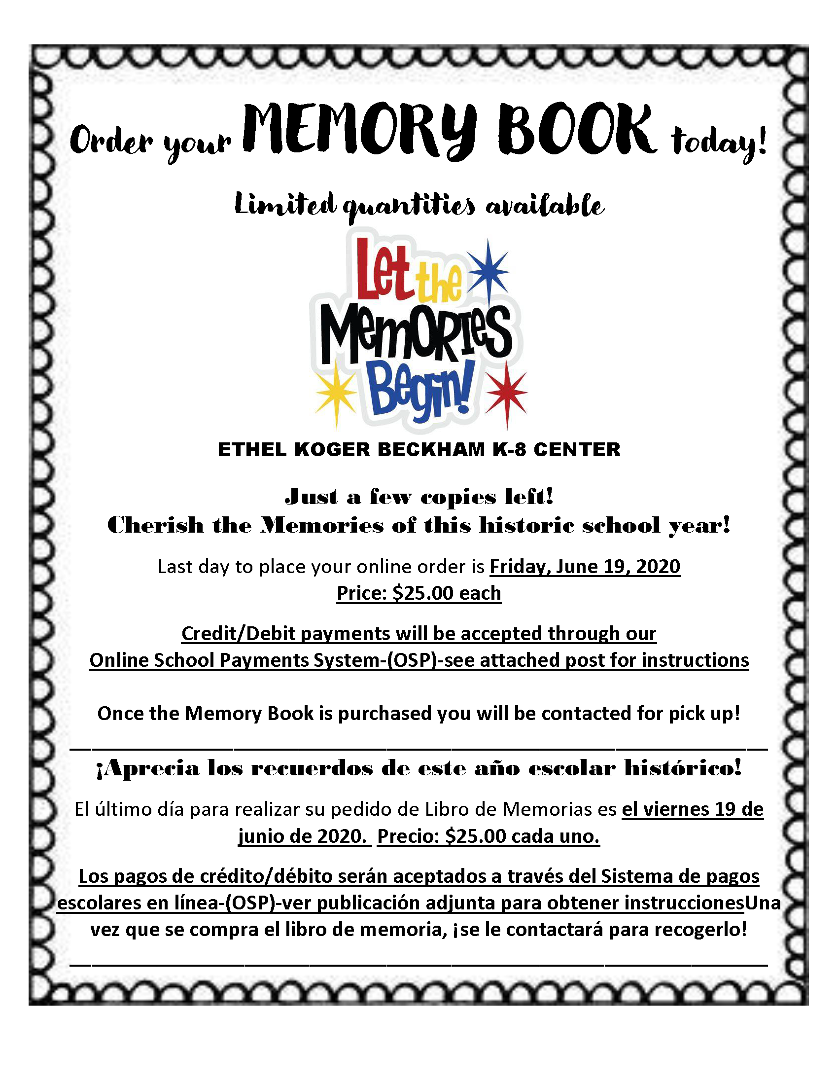 yearbook purchase flyer